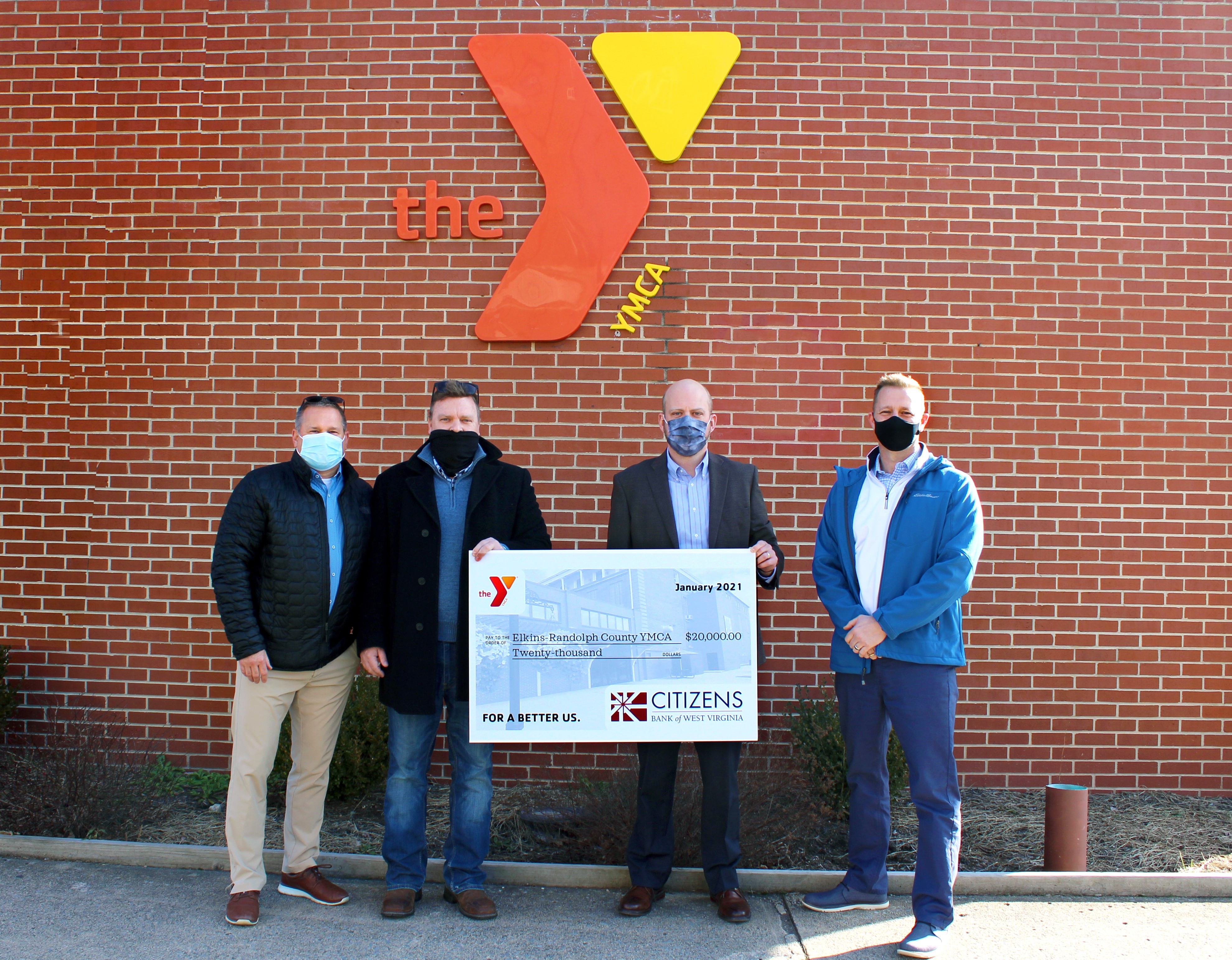 Citizens Bank President, Nathaniel S. Bonnell, Presents Check to YMCA CEO, Sid Gillispie, and Board Members John Carte and Kenny George